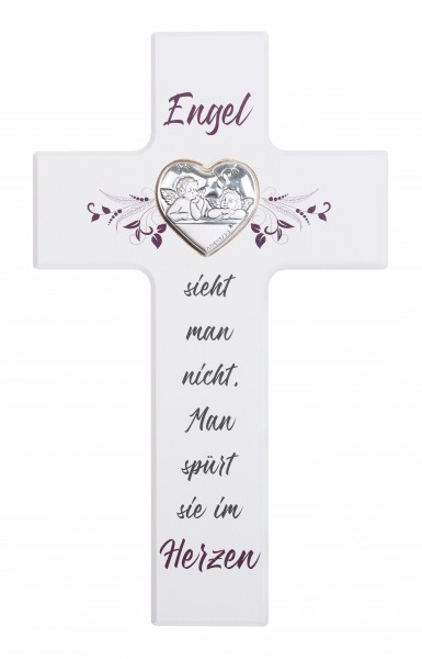 """Kinderkreuz """" Engel sieht man nicht..""""20x12 cm Schrift violett"""