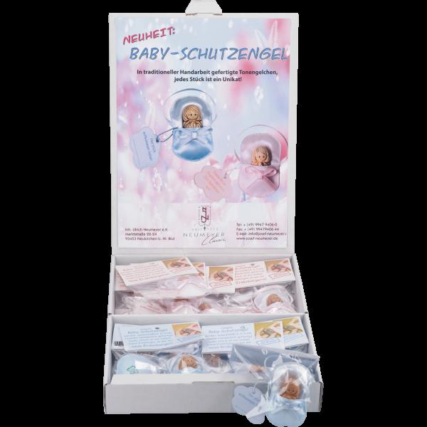 Baby-Schutzengel, Keramik, 4cm in Stoff-täschchen, 20 St. blau/rosa im Display