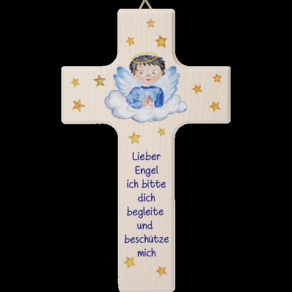 "Kinderkreuz Bub ""Lieber Engel ...""Ahornholz, natur, 15 x 9 cm"