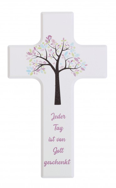 Kinderkreuz 15x9cm Schrift rosa