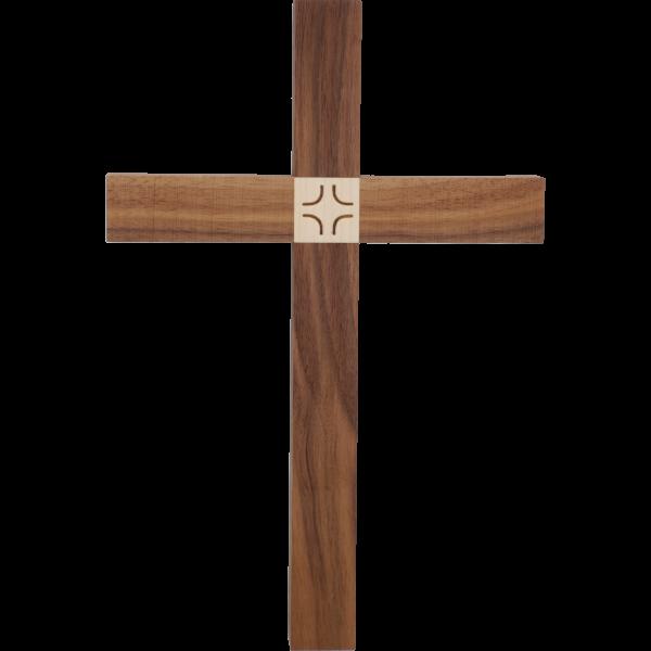 """Hängekreuz, Nussbaumholz, 30 x 18 cmmit Einlage Ahornholz """"Kreuz"""""""