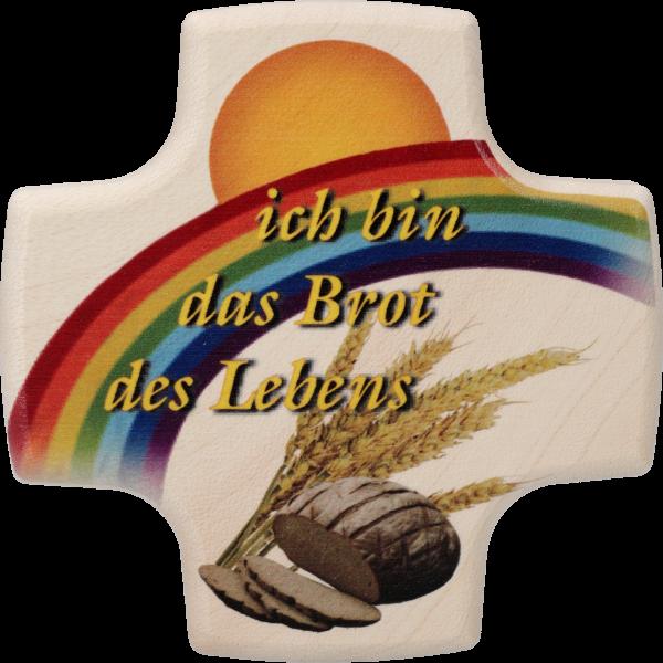 """Kommunionkreuzchen """"Brot des Lebens 1""""Ahornholz, natur, 8,5 x 8,5 cm"""