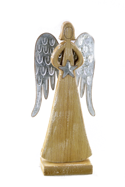 Holz/Metall Engel natur-antikgrauGr. 31 cm